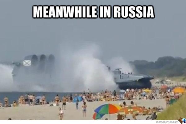 rosyjski poduszkowiec na plazy
